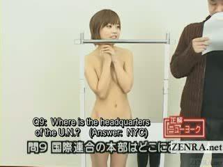 Subtitled nhật bản quiz chương trình với thuyết khỏa thân nhật bản sinh viên