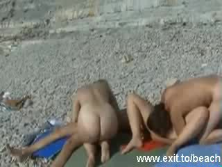 Public Nudist Swinger Party on the Beach Video