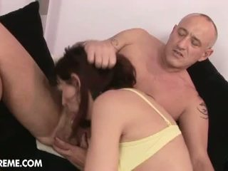 Lusty Grandmas: Mature brunette gets toyed with vibrator and get hard fucked.