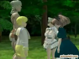 3D hentai girls gets monster fucked in the forest