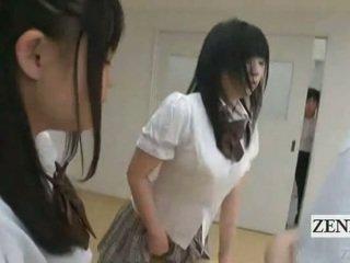 Subtitled जपानीस schoolgirls में thongs बट judging