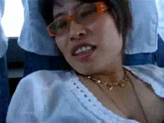 Wild asian woman fucks on the public bus