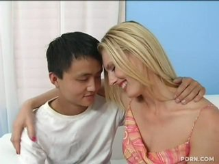 Long Legged Blonde Stepmom Adopts Son's Tackle