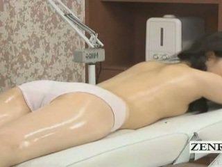 Subtitled jaapani koolitüdruk esimene sensuaalne õli massaaž