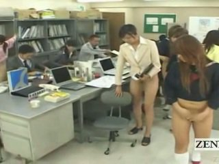 Subtitled 一半 裸 bottomless 日本语 学校 办公室