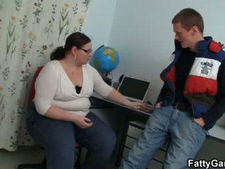 Chubby big belly teacher seduces him for play <span class=duration>- 6 min</span>