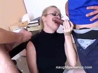 Adrianna nicole blows 2 dur meat weenies alternately