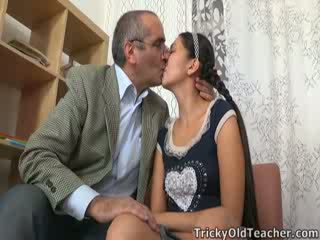 Tricky old teacher gets up to his nuts in Asian pussy