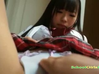 Schoolgirl Squirting While Getting Her Hairy Pussy Fingered By Guy On The Bed