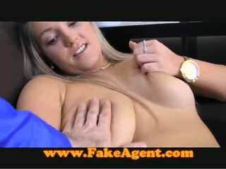 Chunky Blonde Playthings Nearly Her Muff Till Giving A Nice Tugjob