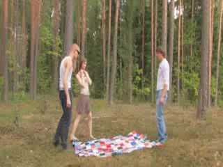 Amateur czechian 3some in the forest