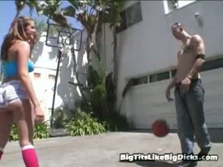 Kate Cummings And Chris Strokes Were Having Fun The One Onto One Basketball When Chris Made Her A Bet. If She Lost Their Game, She Had To Strip Down And Bang Him. Thankfully, This Great Boobed Brun