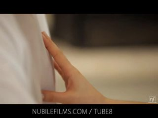 Nubile Films - Cum dripping from her face onto her perky little tits