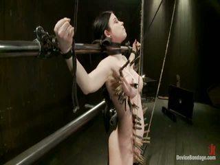 Curvy broad suffers pro orgasms pak strung nahoru podle vlasy suspension.