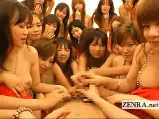 Extreme POV Japanese group blowjob and kissing orgy