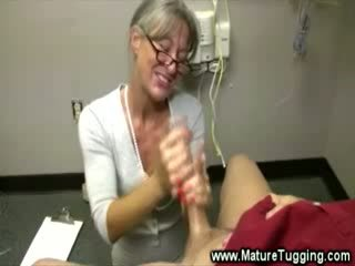 Eager milf wants him to spunk in her hands