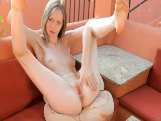 tease thin pussy on the terrace