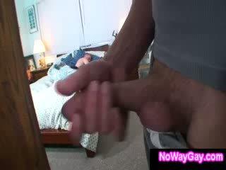 Gay roommate sneaks on straight guy while he sleeps