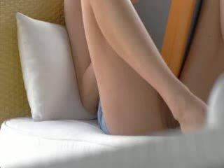 Slim brunette strip and masturbate