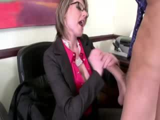 Two chick guys get blown at thier office by milfs