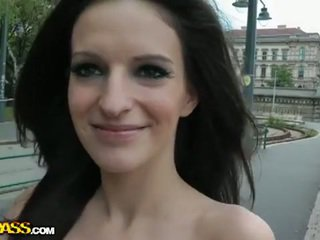 brunette, public sex, newbie, blowjob