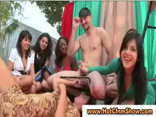 Clothed babes suck guys cock in amateur reality sexparty