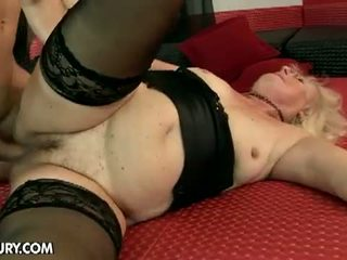 Lusty Grandmas: Horny blonde granny for sweet young cock