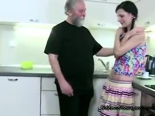 Horny slim girl lets old man seduce her, then angry boyfriend joins getting blowjob