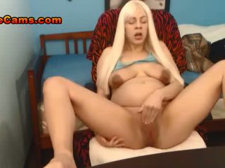 Pregnant Blonde Teen Rubs Her Clit