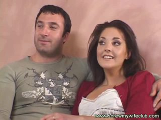 Brunette bojo fucks old guy while hubby watches