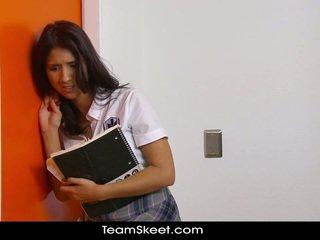 brunette, étudiant, butin