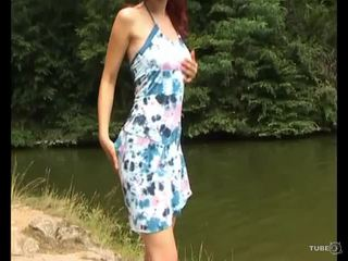 Euro Red-headed Bombshell with Big Tits goes skinny dipping