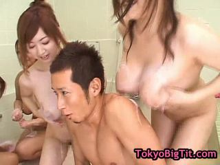 Four hot asia girls in team fuck