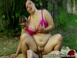 Plump slut loves her seat on his hard dick with her fat friend
