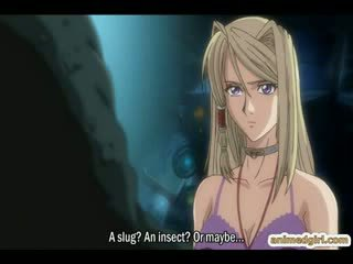 Busty hentai gets caught by tentacles and electric shocks