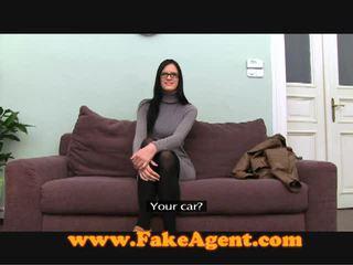Stunning brunette teen fucks the fake agent