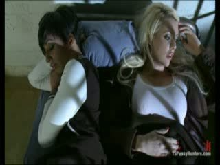 Hot blondie fucked by Tranny in prisonhouse