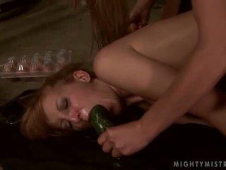 Young mistress dominating her slavegirl