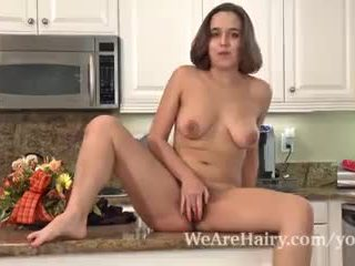 Hairy porn in Viola Starr's kitchen