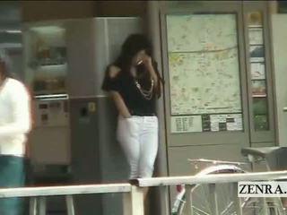 Subtitled יפני av כוכב ציבורי תחנה masturbation