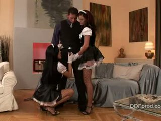 Hawt Maids Natalie Colt And Friend Sucking A Beefy Hard Unbending