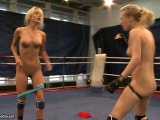 Laura kristall ja michelle dampened fighting stripped