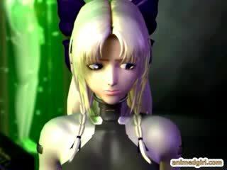 3D cartoon girl double penetration by monster and tgirl cartoon