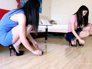 Cute Girls Playing On Domino