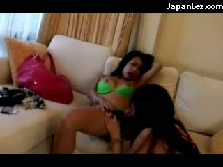 Slim Girl In Green Lingerie Getting Her Nipples Sucked Pussy Licked Fingered By 2 Girls While Filming Themselves On The Couch