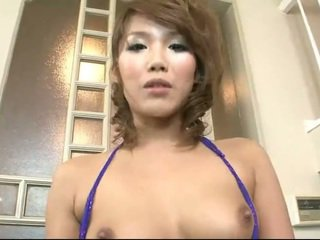 Japanese babe milking a small dick