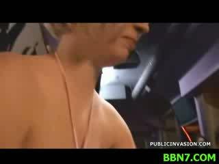 Lustful man kisses girl's Juggs