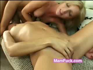 Hot petite blonds mom and daughter share huge dick in 3some