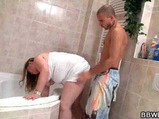 BBW Bet: Lewd brunette fatty slut down and wild in bathroom