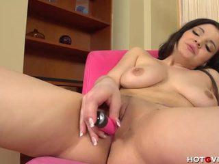 Latin girl with generous curves masturbates